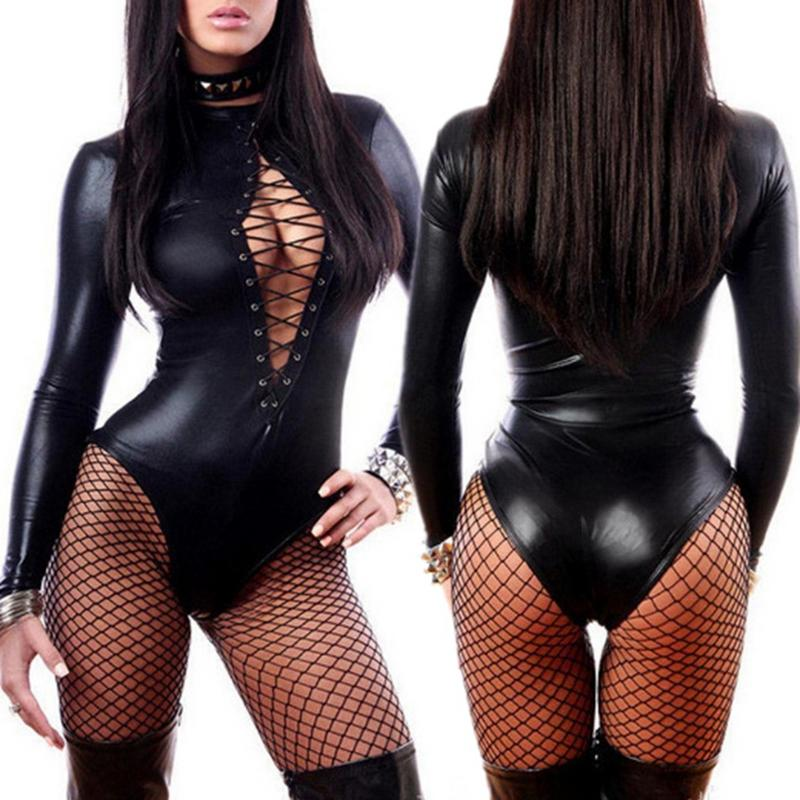 Sexy Women PU Leather PVC Lingerie Wetlook Long Sleeve Bodysuits Erotic Leotard Costumes Hot Latex Catsuit Catwomen Nightwear