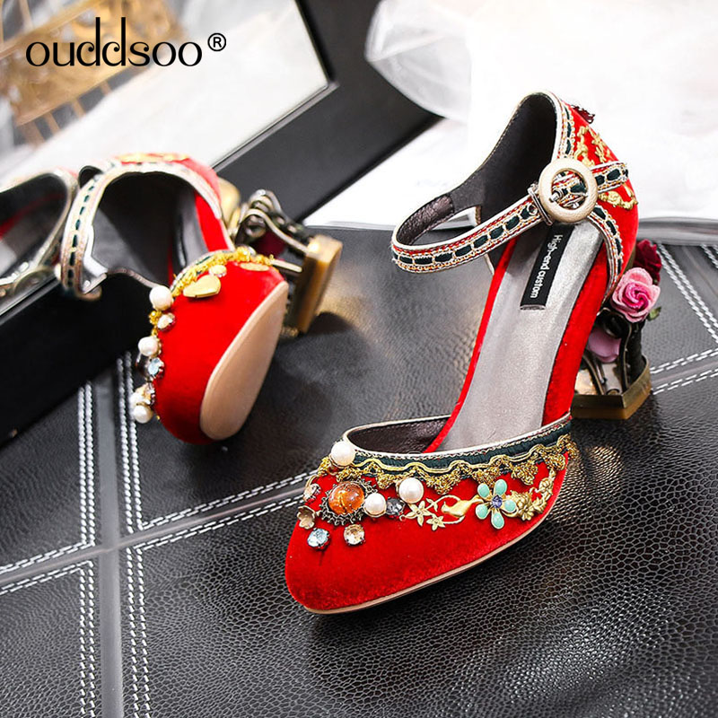 ODS Abnormal Ankle Strap Folk Multi Colored GemstoneColourful Sandals Round Toe Chunky Pumps Pom High Quality Shoes Black 42 43