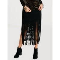 Rosetic Harajuku Goth Black Sexy Midi Pencil Tassel Straight Skirt Mid Calf Elegant Bohemian Holiday Patchwork Suede Holiday