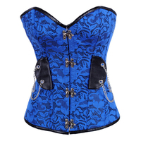 Steampunk Sexy Gothic Corset Lace Up Corsets And Bustiers Korset Burlesque Blue Women Hot Body Shaper Overbust Waist Corsets