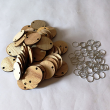 50 шт. необработанные деревянные диски монеты круги с отверстиями DIY семья день рождения