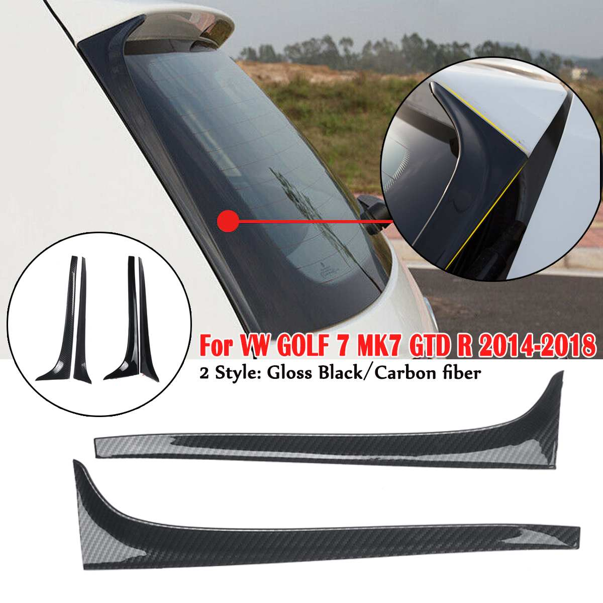 Carbon Fiber Rear Window Side Spoiler Wing For VW <font><b>GOLF</b></font> 7 MK7 GTD <font><b>R</b></font> 2014-<font><b>2018</b></font> Car-styling Auto Accessories image