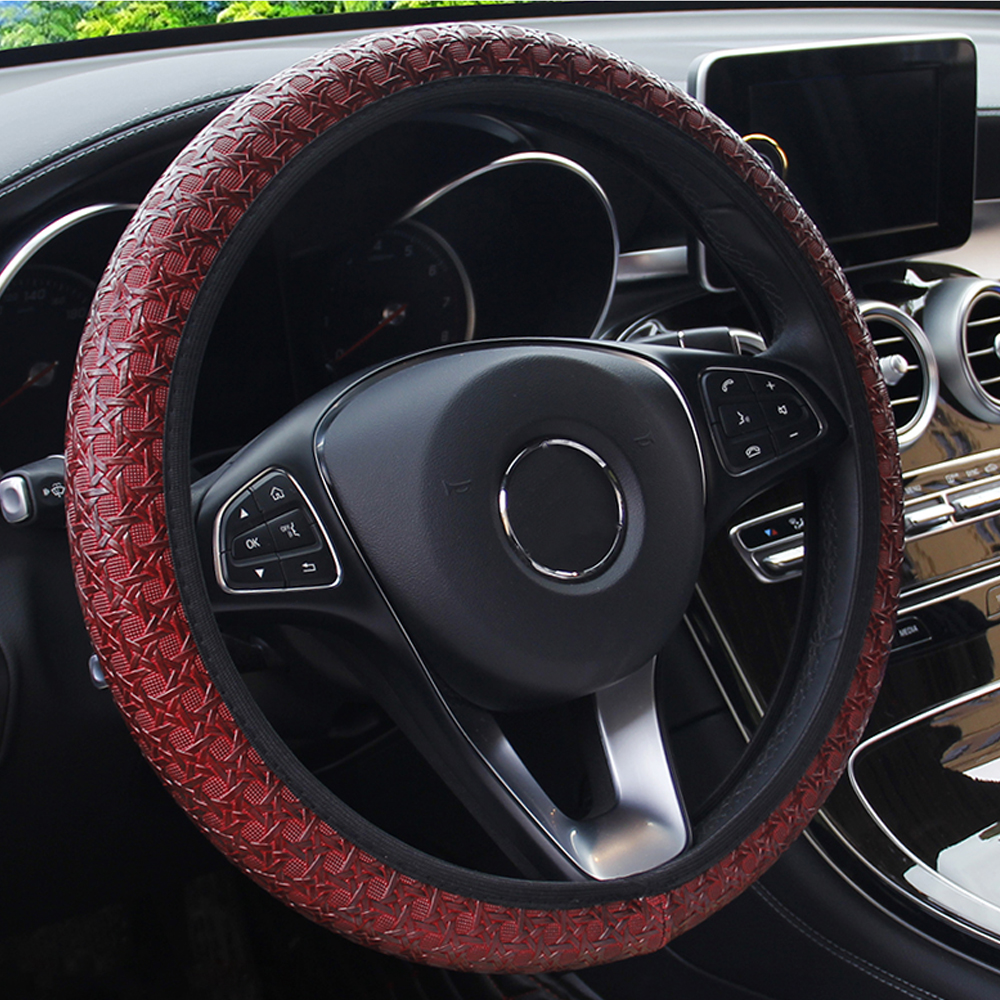 FORAUTO Car Steering Wheel Cover Universal Diameter 38cm Auto Steering Covers Car-styling Auto Decoration Interior Accessories