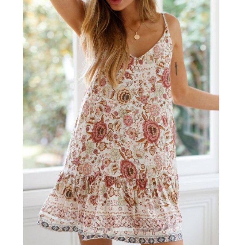 2019 Summer Dress Women Floral Print Chiffon Dress Sleeveless Beach Dress Sundress Deep V Neck Backless Dresses Vestido