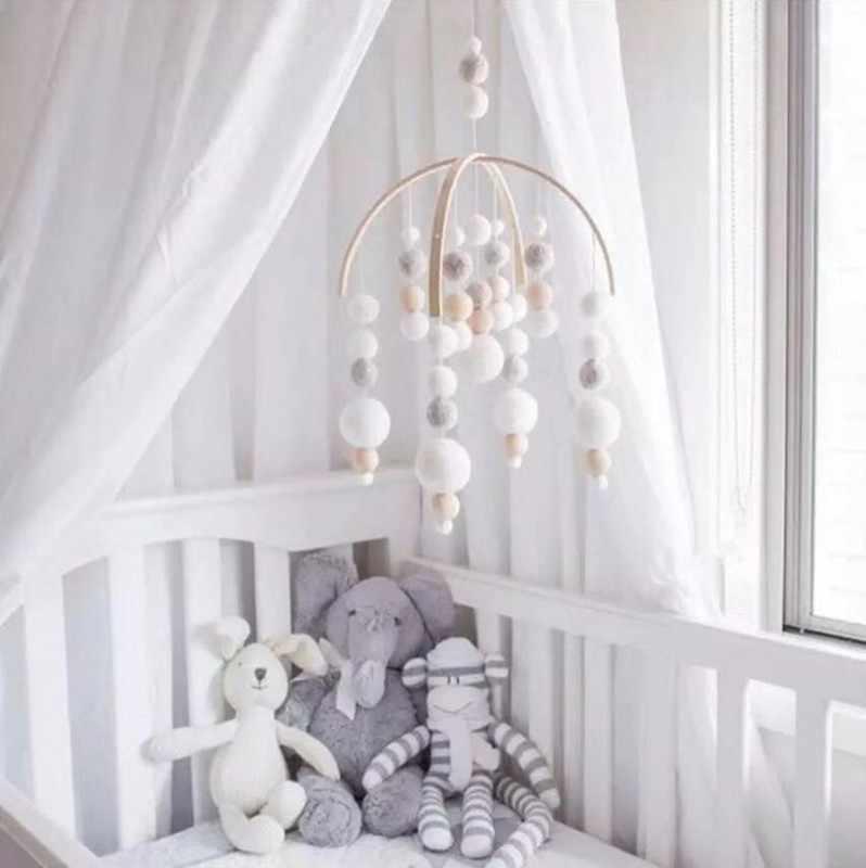 Скандинавский стиль деревянные детские мобильные игрушки Newbron кроватка войлочный шарик кроватка мобильные телефоны кровать колокольчик Висячие игрушки подарок для новорожденных украшение в детскую комнату