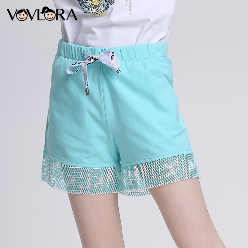 Mesh Patchwork Sport Girls Shorts Mid Elastic Waist Cotton Kids Beach Shorts Solid Casual summer 2018 Size 9 10 11 12 13 14 Year stylish mid waist candy color slimming shorts for women page 4
