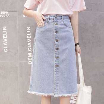 Flectit 2019 Button Front Midi Denim Skirt for Women Casual High Waist Fray Hem with Pocket Knee Length Jeans Skirt Female * 2