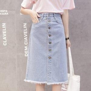 Image 2 - Flectit 2020 Button Front Midi Denim Skirt for Women Casual High Waist Fray Hem with Pocket Knee Length Jeans Skirt Female *