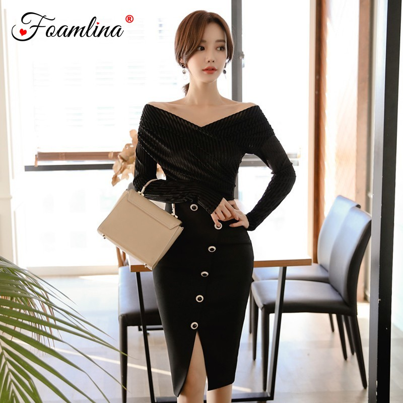 Foamlina Elegant Women Two Pieces Set 2019 Spring Fashion V Neck Long Sleeve Velvet Top + High Waist Buttons Pencil Skirt Suits