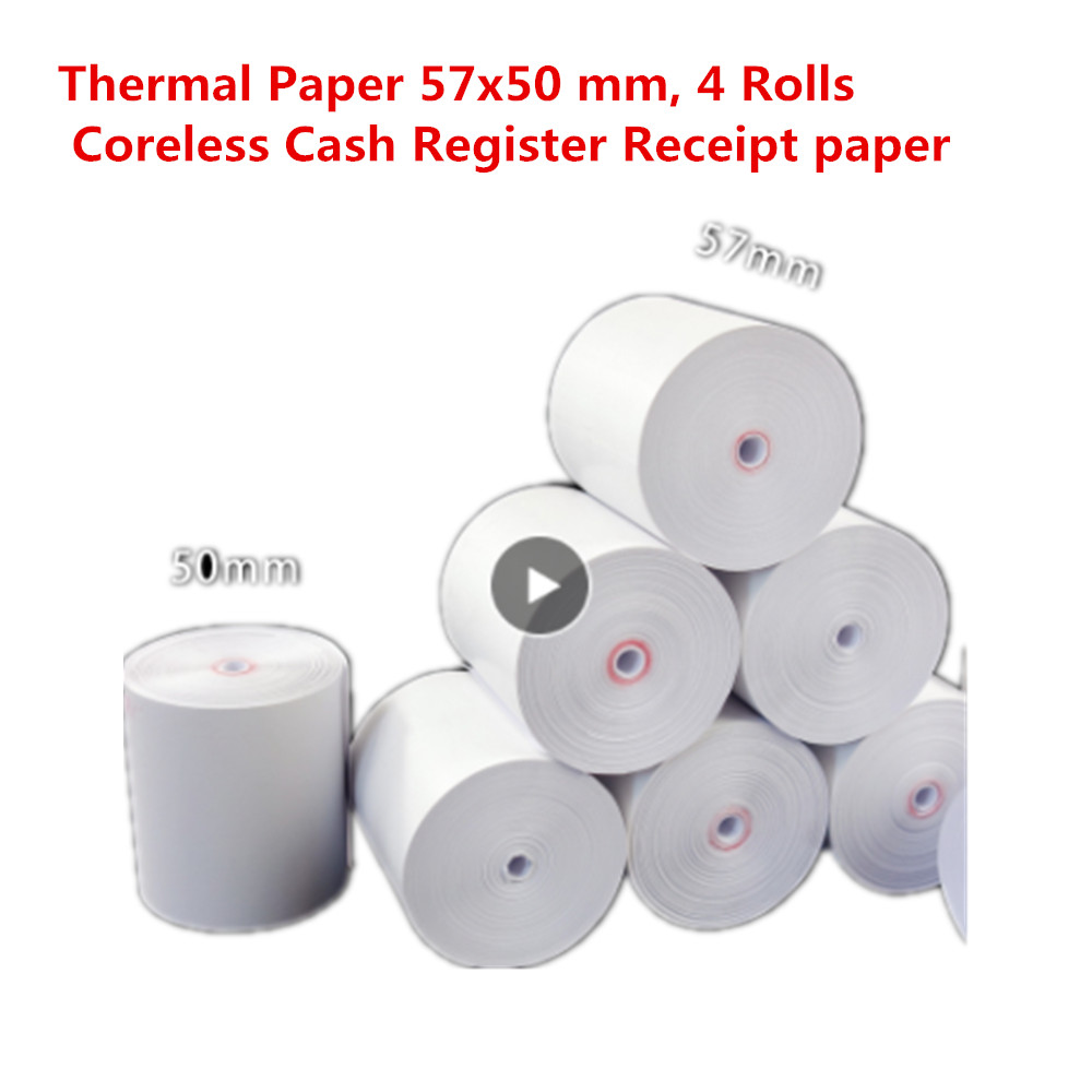 Free Shipping Thermal Paper 57x50 Mm, 4 Rolls Coreless Cash Register Receipt Paper, No Core Super Long Meters
