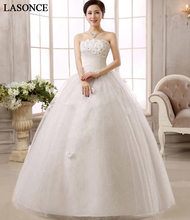 LASONCE Crystal Flowers Strapless Lace Ball Gown Wedding Dresses Off The Shoulder Pleat Backless Bridal Gowns lasonce lace appliques ball gown wedding dresses crystal strapless off the shoulder sequined backless bridal gowns