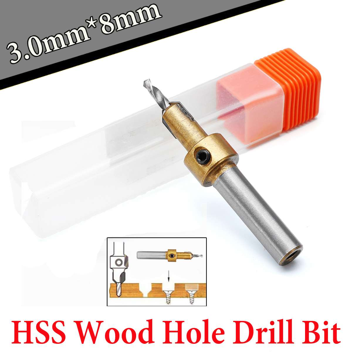 1PC Tiny Hss Wood Hole Drill Bit Timber Wood Working Countersink Drill Bit Kit Screw Cutter 3mm x 8mm Shank For Metal Wood Alloy1PC Tiny Hss Wood Hole Drill Bit Timber Wood Working Countersink Drill Bit Kit Screw Cutter 3mm x 8mm Shank For Metal Wood Alloy