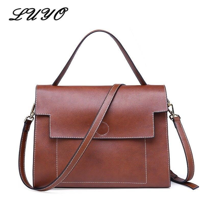 LUYO Vintage Genuine Leather Luxury Handbags Women Shoulder Bags Female Postman Brown Tote Bag Ladies Designer