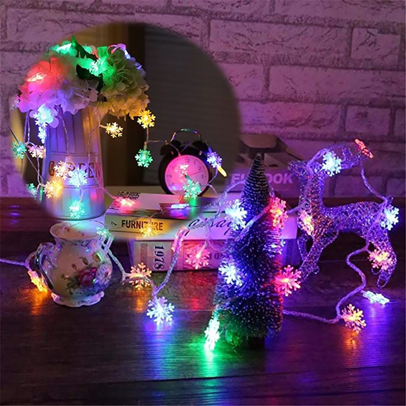 1.5m Led Christmas Tree Snow Flakes Led String Fairy Light Xmas Party Home Wedding Garden Garland Christmas Decorations