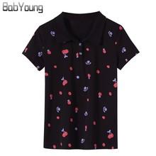 BabYoung/Летние повседневные женские топы поло с фруктовым принтом; хлопковые рубашки поло; Femme Polo Mujer; рубашка с отложным воротником и длинными рукавами; 4XL
