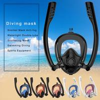 Snorkel Mask Anti fog Glass Diving Watertight Double tube Snorkeling Mask Double tube Swimming Diving Sports Diving Equipment