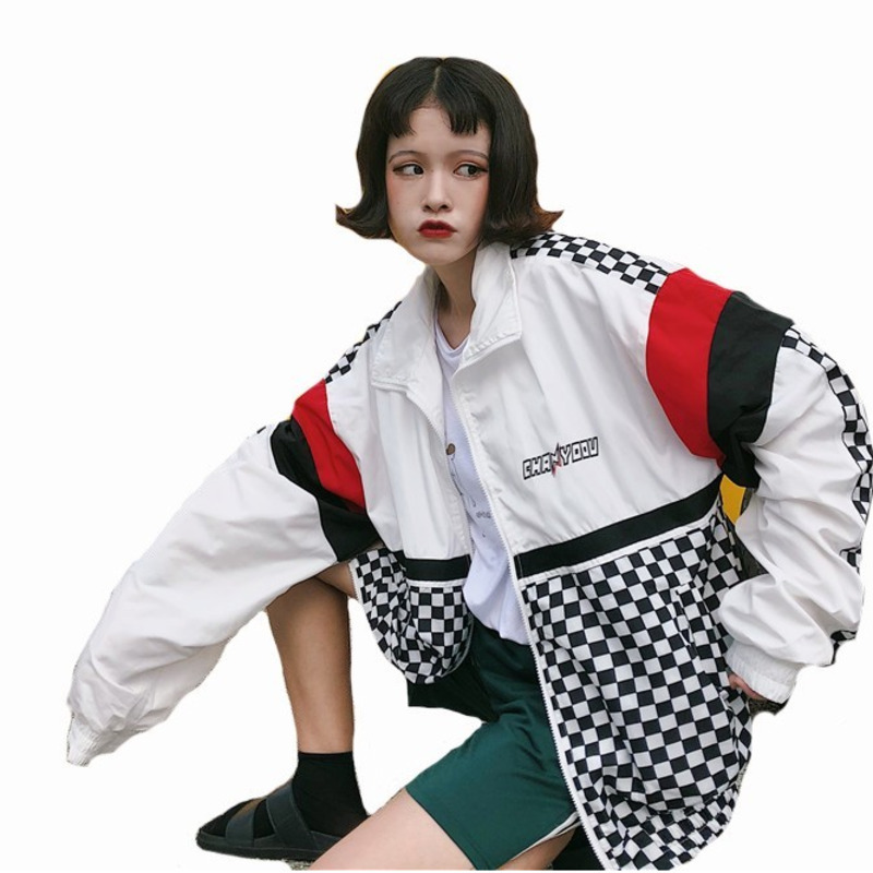 #5411 Summer Sunscreen Windbreaker Women Korean Fashion Thin   Coat   School Harajuku Baseball Hip Hop Jacket Streetwear