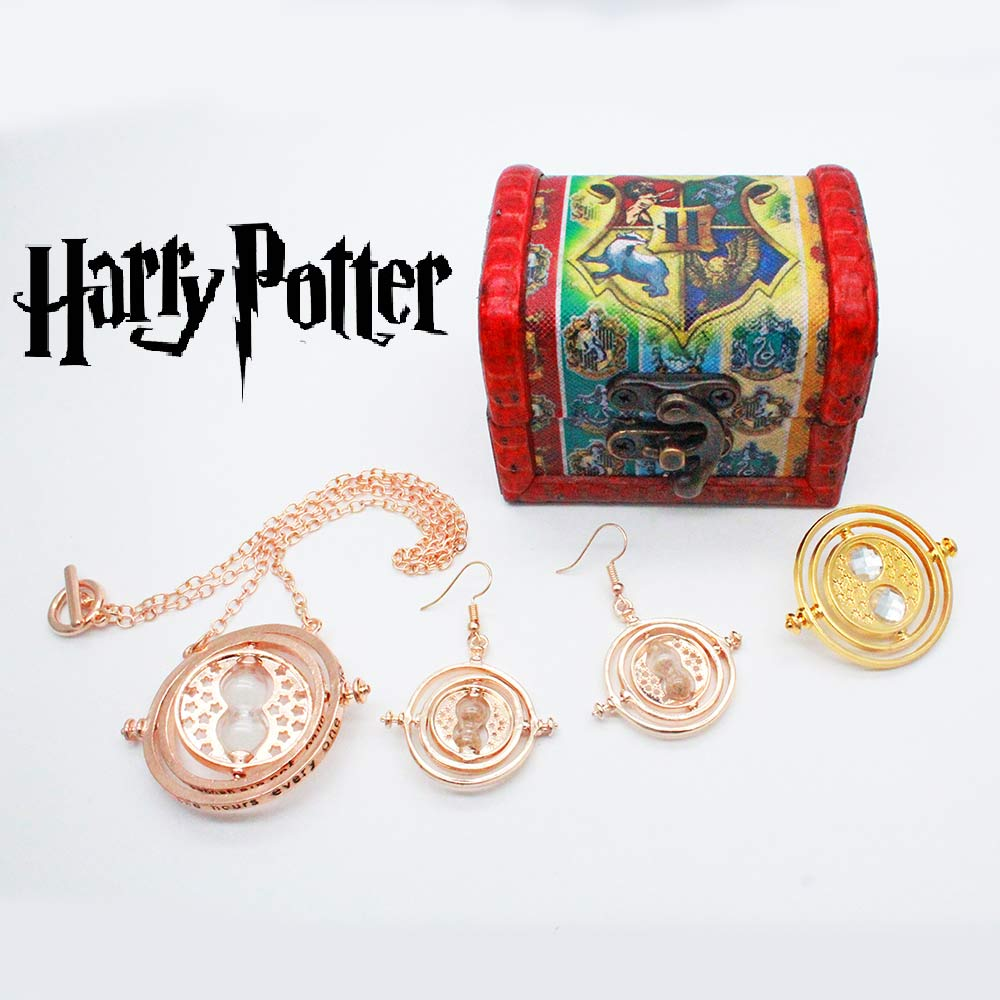 Giancomics Hot Harri Potter Movie Necklace+Earrings+Pins Set With Exquisite Box Alloy Hourglass Otaku Collection Birthday Gifts