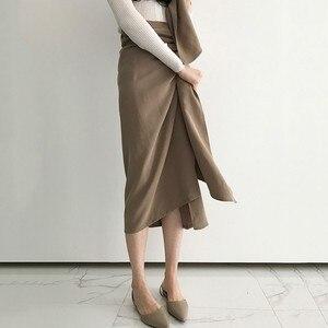 Image 2 - TWOTWINSTYLE מזדמן חצאית לנשים גבוהה מותן תחבושת סימטרי Midi חצאיות נשי קוריאני אופנה אלגנטית 2020 אביב