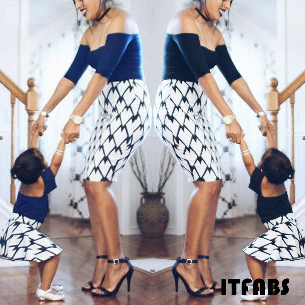 Mother and Daughter Dress Off shoulder Off shoulder Woman Kids Girls Summer Dresses Clothes