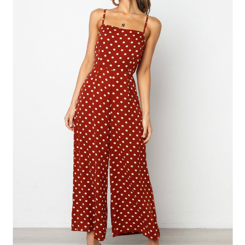 2019 Fashion Women Summer Boho Dot   Jumpsuits   Romper Sleeveless Backless Strap Beach Club Sexy   Jumpsuit