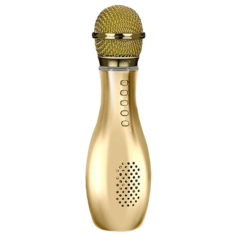 Flash Led Karaoke Microphone Wireless Bluetooth Speaker Mic Bottle Style Handheld Ktv Home Party Singing Mic For Phone Pc