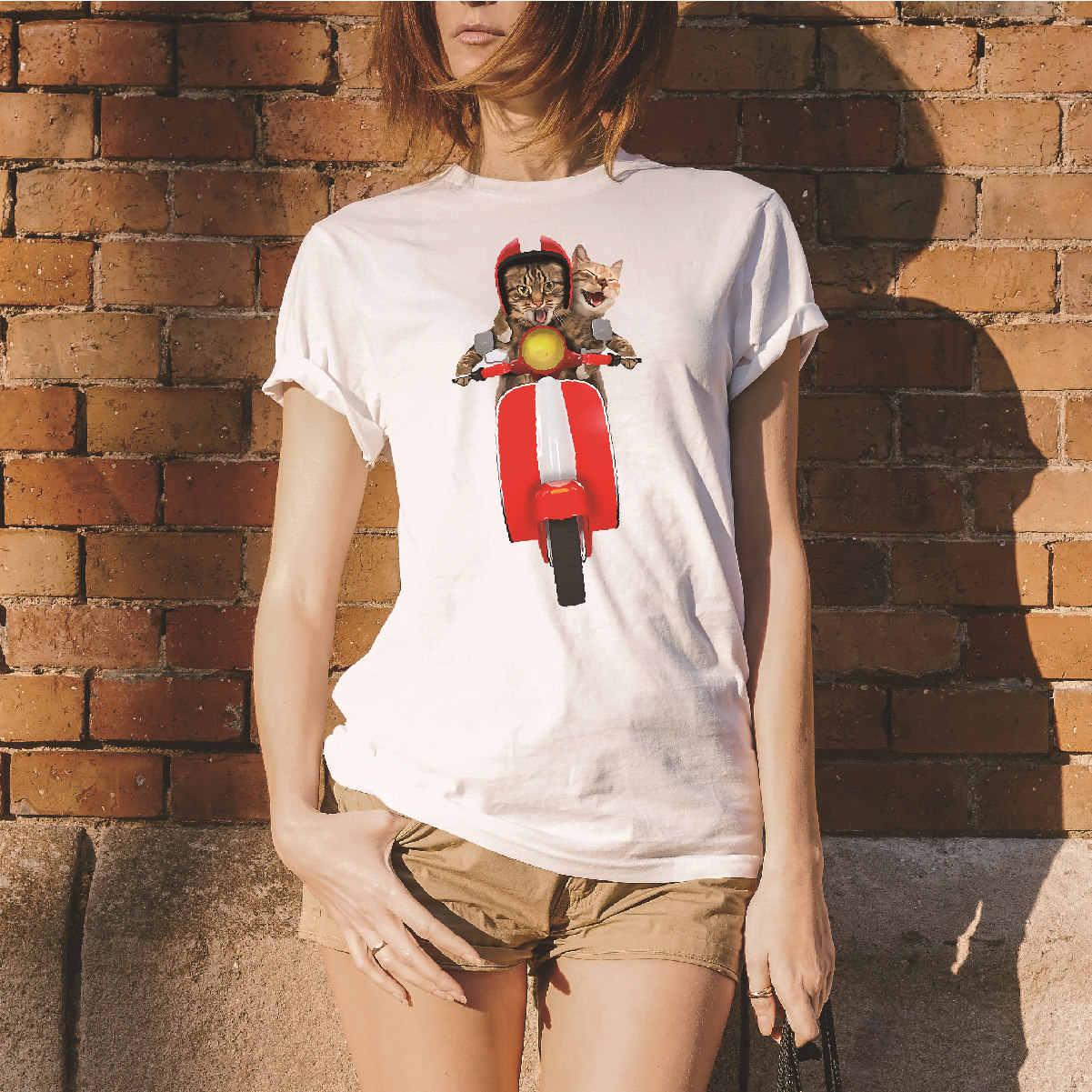 Cartoon Cat 3D impression t-shirt femmes à manches courtes O cou lâche blanc t-shirt 2019 été femmes t-shirt hauts Camisetas Mujer