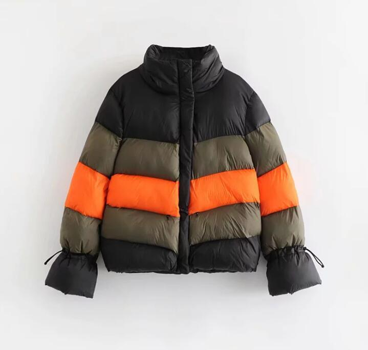 Winter Color Block Spliced Thick Coat   Parkas   Outer Bubble Coat Women Turtlenck Zipper Puffer Jacket
