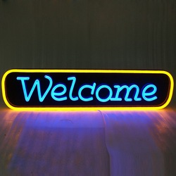 Custom Flash 3d LED Reclame Sign Light Brief woondecoratie Open LED Neon Sign
