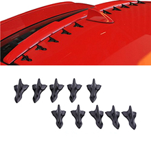 Universal 10 Pcs 3D Shark Fin Jet Rear Roof Wing Spoiler Diffuser Style Black Vortex Generator Increases Downforce