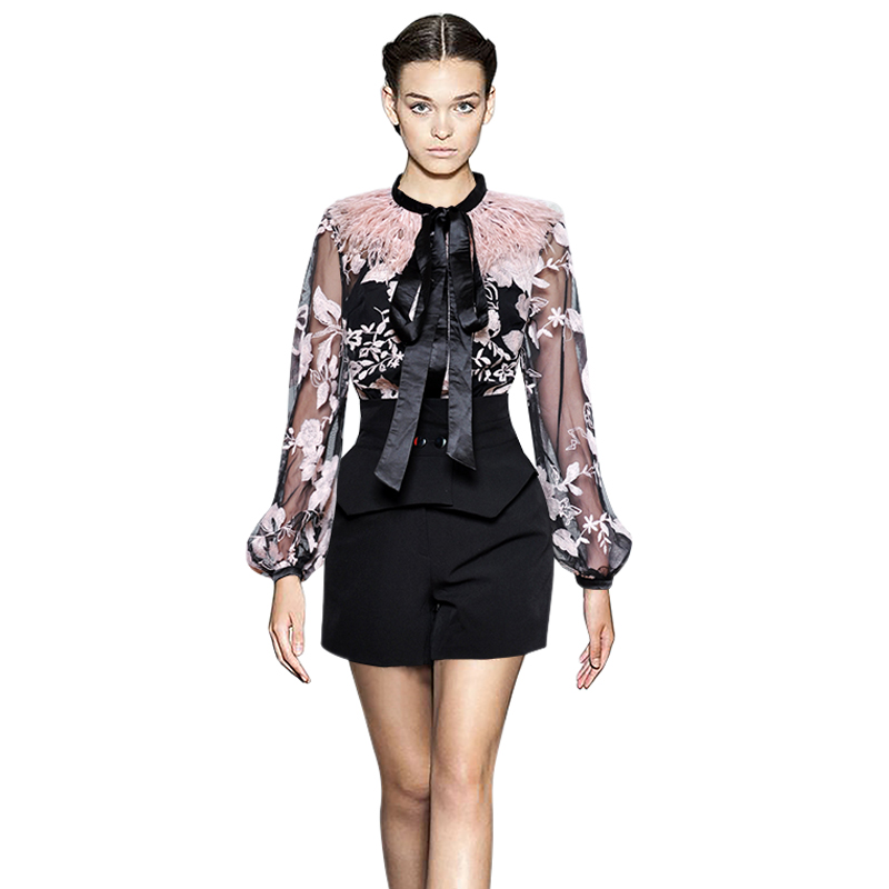 2 piece set pink ostrich feather overlay bow collar lantern long sleeve sheer blouse embroidery top