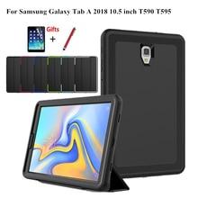 Per Il Caso di Samsung Galaxy Tab Un A2 2018 10.5 Pollici T590 T595 T597 SM T590 Smart Funda Copertura Tablet Dura Della Pelle stand Borsette + Film + Pen