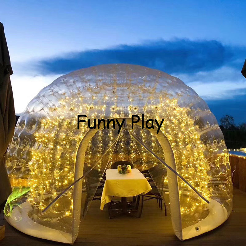 inflatable airtight camping tent half clear half black bubble house for hotel rental,Family Camping Backyard Advertising - 2