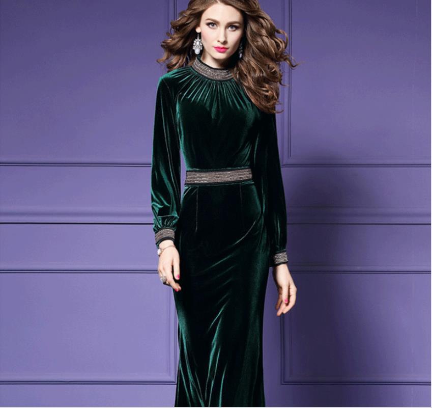 2019 printemps élégant vert velours robe moulante Puls taille 3XL concepteur piste perles taille femme fête longues robes vêtements