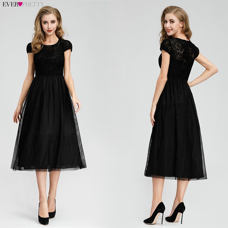 2019   Cocktail     Dresses   Ever Pretty Black Lace Short Sleeve Tea-Length Cap Sleeve Vestidos De Coctel Elegantes Party   Dresses
