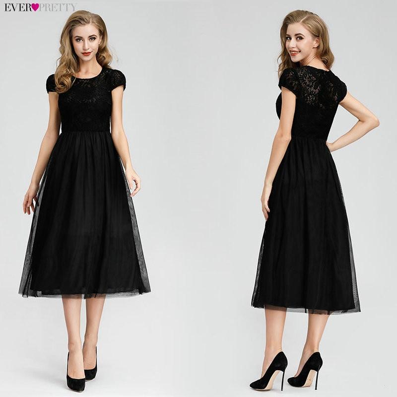 2019   Cocktail     Dresses   Ever Pretty Black Lace Short Sleeve Tea-Length Cap Sleeve Vestidos De Coctel Elegantes Party   Dresses