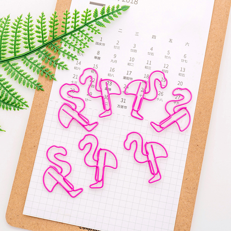 5Pcs/lot Flamingo Bookmark Planner Paper Clip Metal Material Bookmarks For Book Stationery School Office Supplies Bts Tools