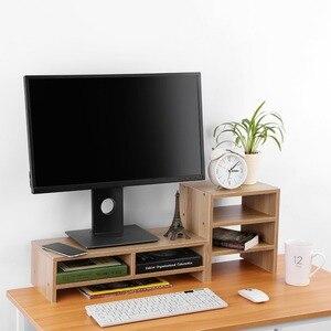 Image 3 - Soporte vertical para Monitor de ordenador portátil organizador de almacenamiento de madera de escritorio + herramienta de estante de 3 capas
