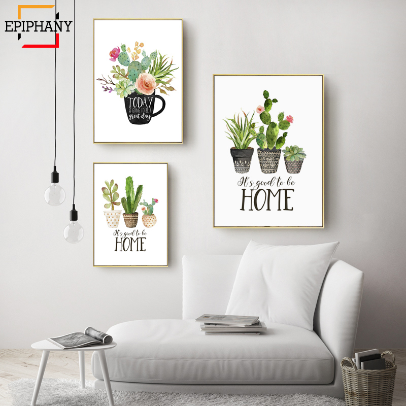 Botanical Cactus Print Home Sweet Home Sign Quote Wall Art Painting Kitchen Decor Tea Poster Nordic Wall Picture For Living Room