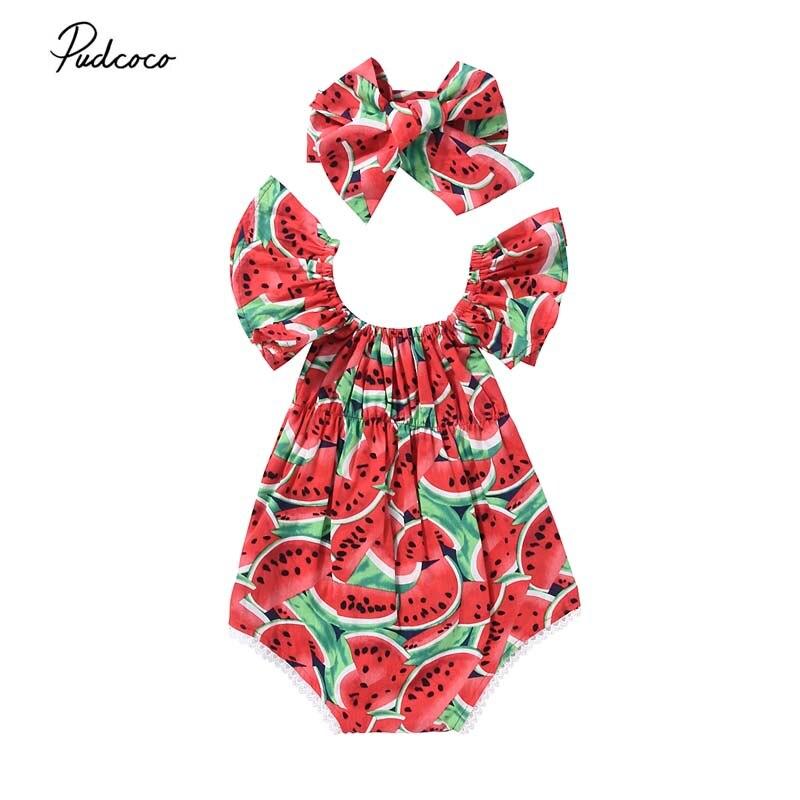 3c8d4d3e2f4dd 2Pcs/Set Newborn Baby Girls Watermelon Clothes Butterfly sleeves Romper  Jumpsuit +Headband Outfits Playsuit