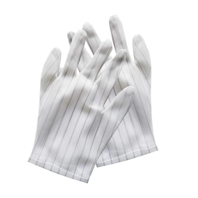 1 Pair Nylon  Striped Print Pattern Antistatic Gloves Working Watch Repair Anti Static Glove Size 230x85mm