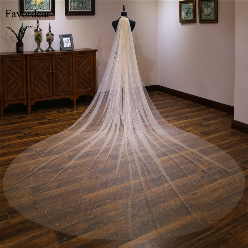 Favordear Bridal Accessories Light Champagne 1 Tier Cut-edge Cathedral Wedding Veil Velos De Noiva 4m Long Bridal Veil With Comb(China)