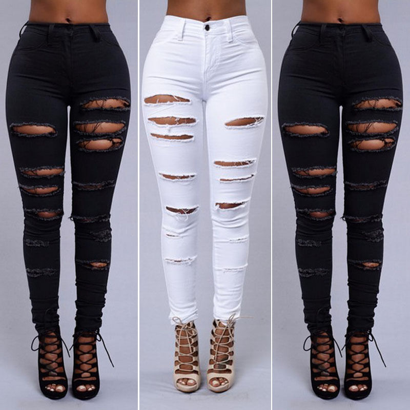 Women Pencil Stretch Casual Slim Denim Hole Skinny Jeans High Waist  Pants  Jeans Trousers