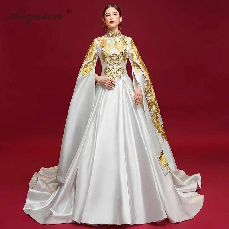 Luxury Evening Gowns For Women Chinese Dress Qipao Stage Show Tailing Dresses Long White Cheongsam Fashion Satin Chinoise Qi Pao