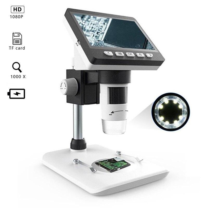 1000X4,3 Zoll HD 1080 p Tragbare Desktop LCD Digital Mikroskop Unterstützung 10 Sprachen 8 Einstellbare LED Halterung Video aufnahme