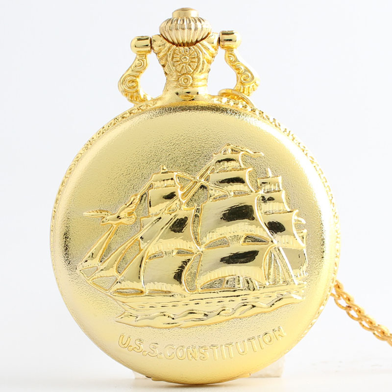 Pocket & Fob Watches Gold Color U.S.S CONSTITUTION Sailboat Emboss Unisex Vintage Pocket Fob Watch With Necklace Chain