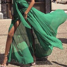 2018 Summer Fashion Women Stylish Elegant Sexy Long Party Dress Eye-Catching One Shoulder Tie Waist High Slit Tunic Maxi Dress