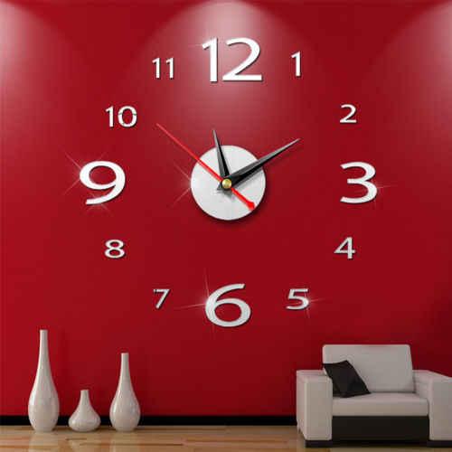 ثلاثية الأبعاد لتقوم بها بنفسك ساعة حائط ديكور المنزل الحديث كريستال ملصقات للمرايا ديكور المنزل غرفة المعيشة الكوارتز إبرة