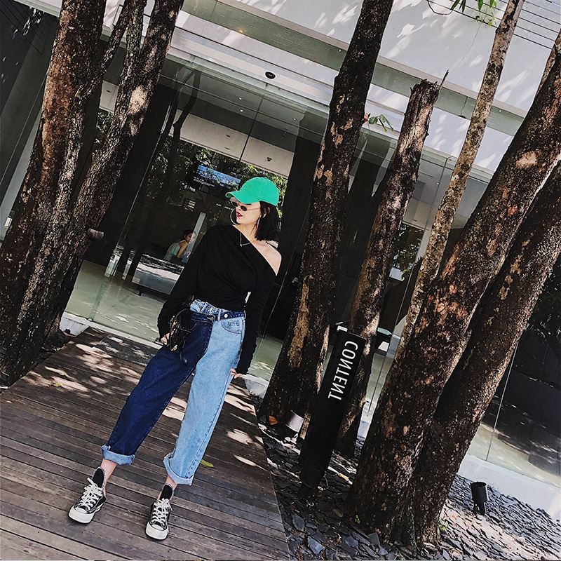 Fake Two-piece Colour Spliced Jeans Women Autumn 2019 New Korean Version of Hong Kong-style Straight Tube Nine Cents Trousers