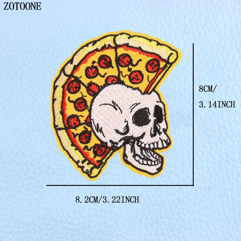 Zotoone Sepeda Pizza Sugar Skull Patch Bordir Garis Pakaian Besi Pada Gaya Punk Sticker DIY Appliques Aksesoris Pakaian